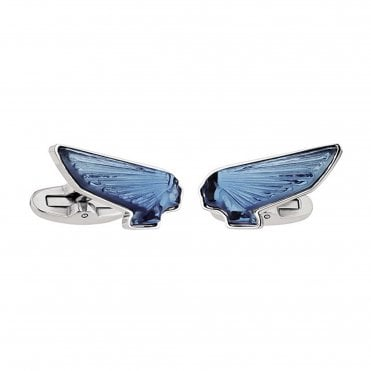 Steel And Blue Crystal Wings Cufflinks