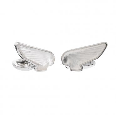 Steel And Crystal Wings Cufflinks