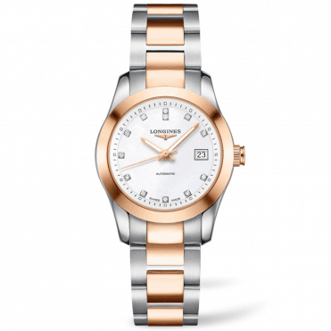 Conquest Classic 29.5mm 18ct Rose Gold & Steel Ladies Watch