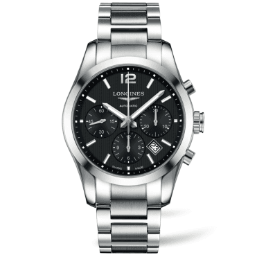 Conquest Classic Stainless Steel & Black Dial Chronograph Watch