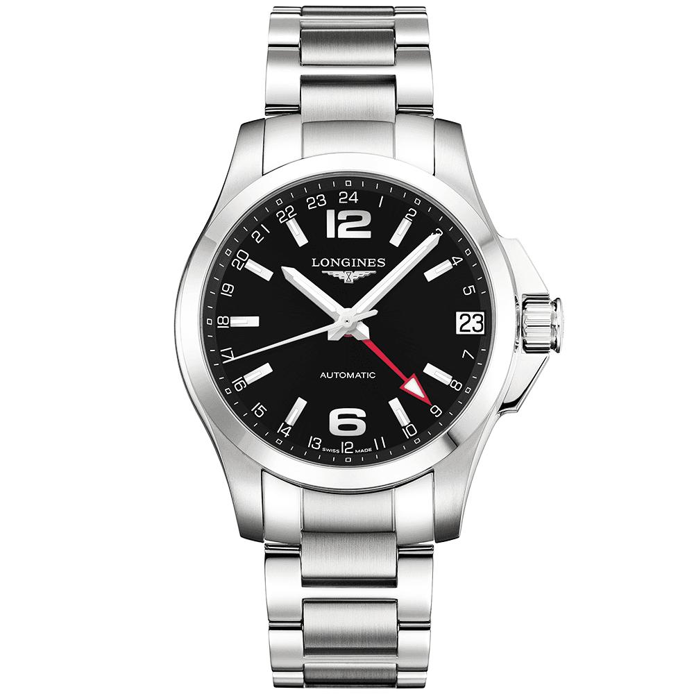e8284e93c Longines Conquest GMT 41mm Black Dial Men's Automatic Bracelet Watch