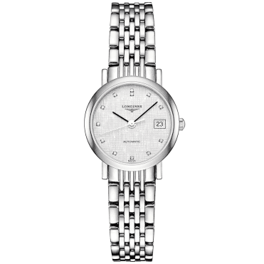 Elegant 25mm Striped Silver Dial Ladies Automatic Bracelet Watch