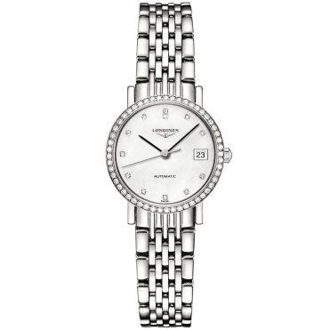 Elegant 25mm White Mother of Pearl Diamond Dial & Bezel Ladies Watch