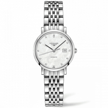 Elegant 29mm White Mother of Pearl Diamond Dial Ladies Watch