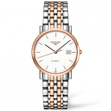 Elegant 34.5mm White Index Dial Two-Tone Automatic Watch