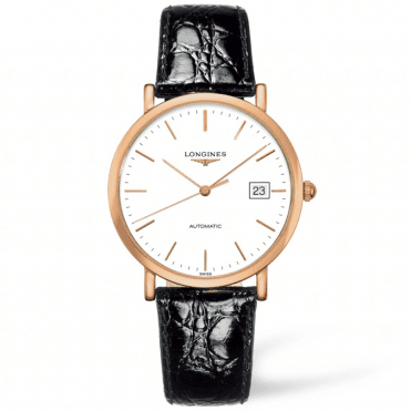 Elegant 37mm 18ct Rose Gold & White Index Dial Leather Strap Watch