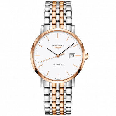 Elegant 39mm Steel & Rose Gold PVD White Index Dial Automatic Watch