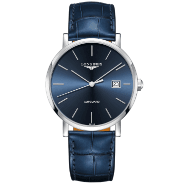 Elegant 39mm Sunray Blue Index Dial Men's Leather Strap Watch