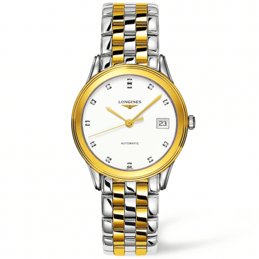 Flagship 35mm Steel and Gold PVD White Diamond Dial Automatic Watch