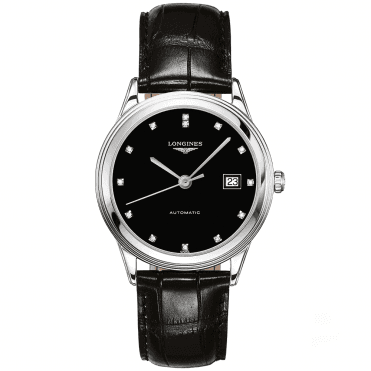 Flagship 38mm Black Diamond Dial Automatic Leather Strap Watch