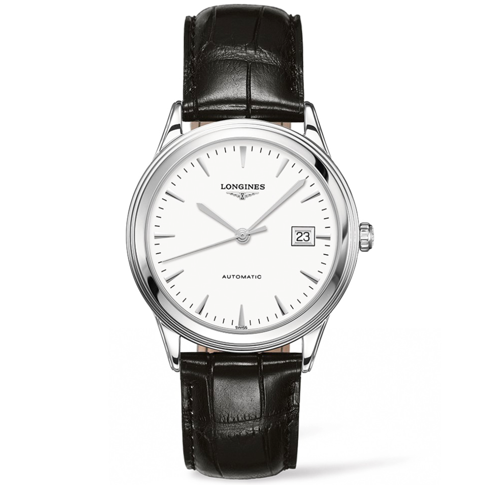 Longines flagship 38mm white dial automatic leather strap watch for Watches 38mm