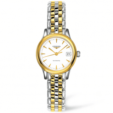 Flagship Automatic Steel and Gold PVD White Dial Ladies Watch