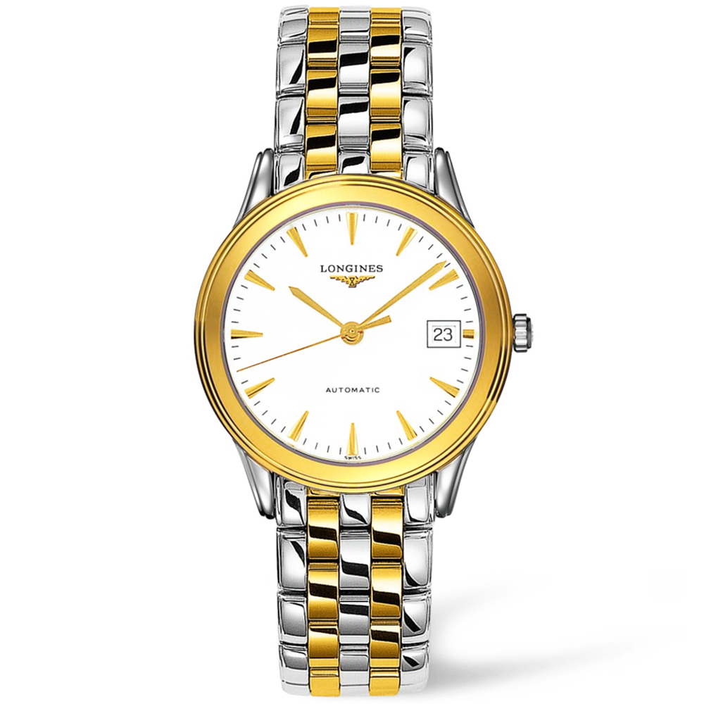 longines flagship automatic steel and gold pvd white