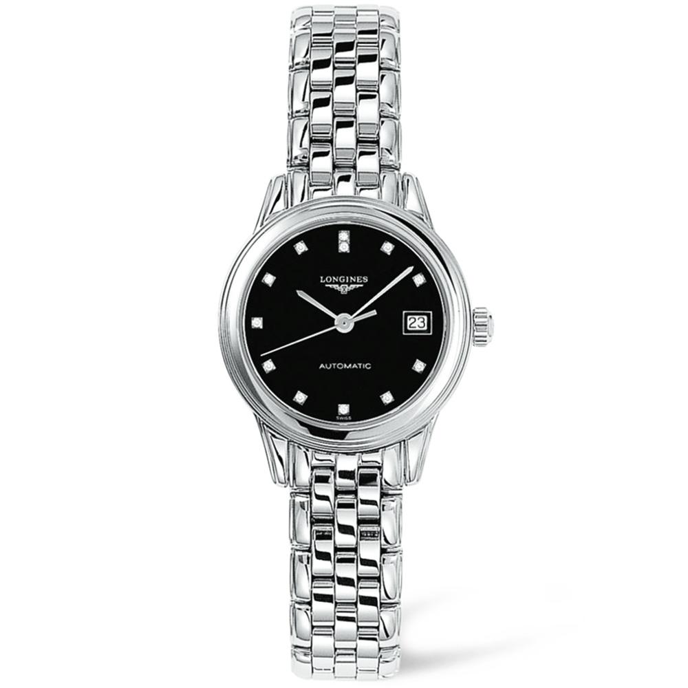 c2cc6f4e889 Longines Longines Flagship Automatic Steel Black Diamond Dial Ladies Watch