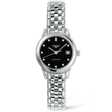 Flagship Automatic Steel Black Diamond Dial Ladies Watch