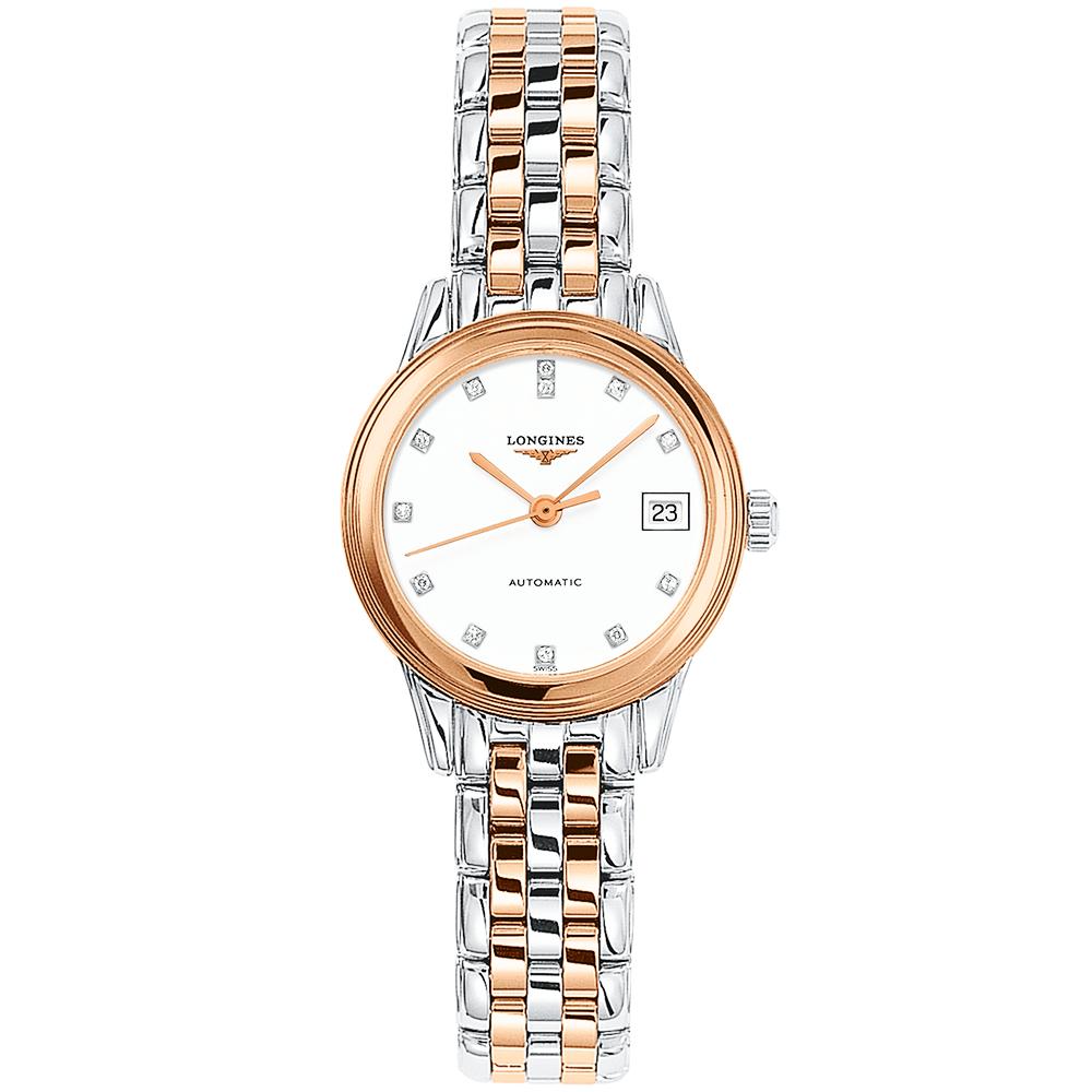 3f10044f7b2 Longines Longines Flagship Automatic Two-Tone White Diamond Dial Ladies  Watch