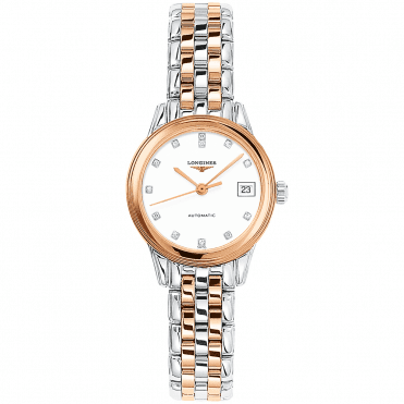 Flagship Automatic Two-Tone White Diamond Dial Ladies Watch