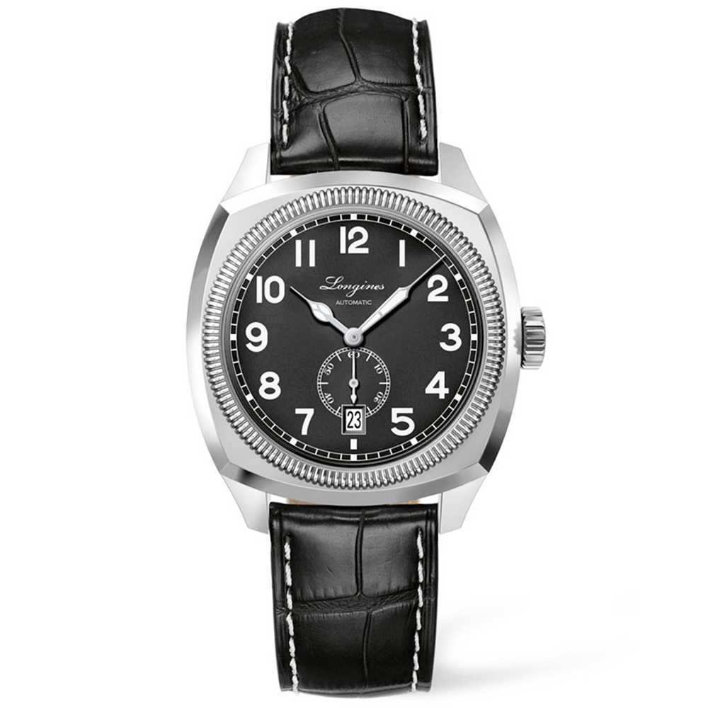 Longines heritage 1935 matte black dial leather strap men 39 s watch for Longines leather strap