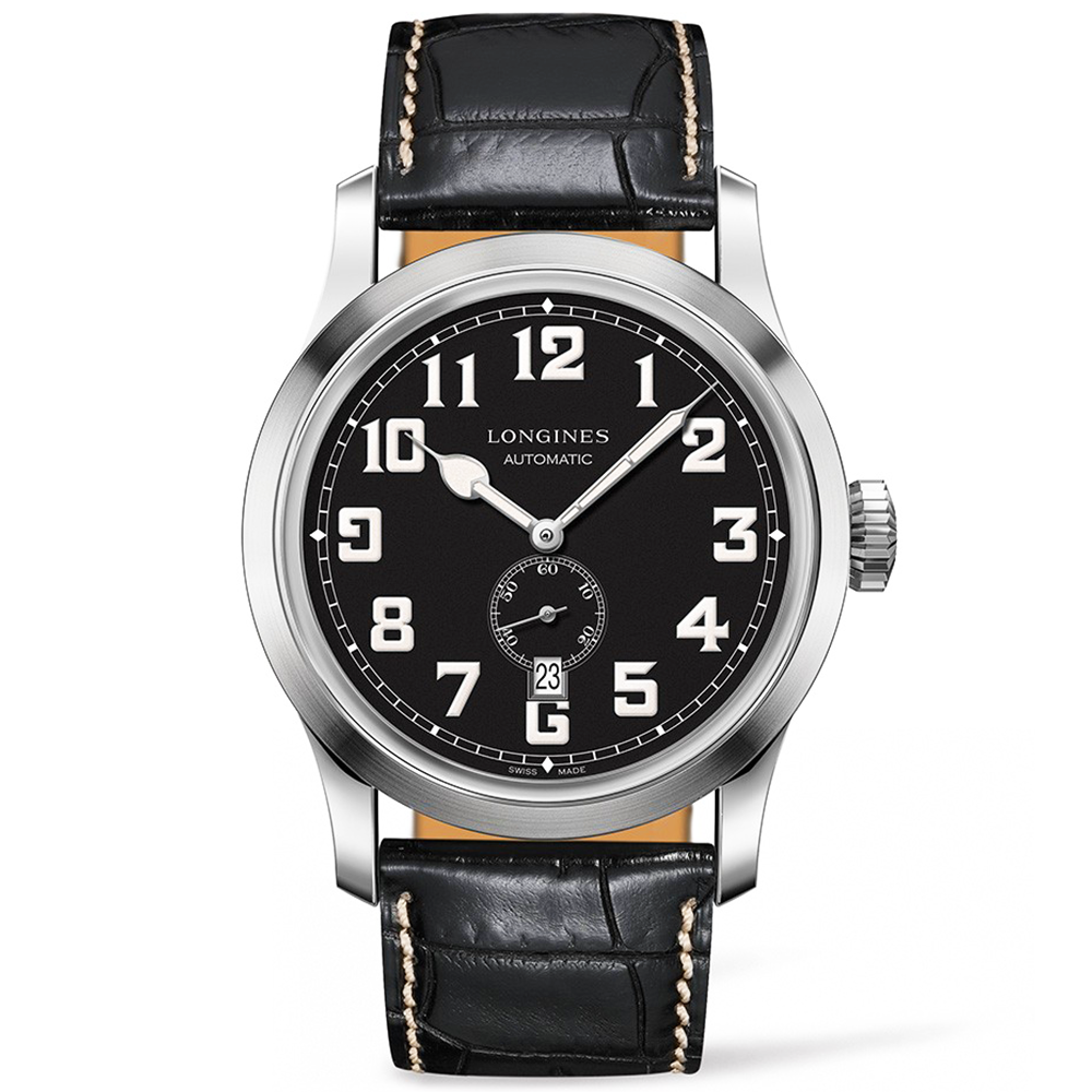 fd81b8eda395 Longines Heritage 44mm Matte Black Dial   Leather Strap Watch