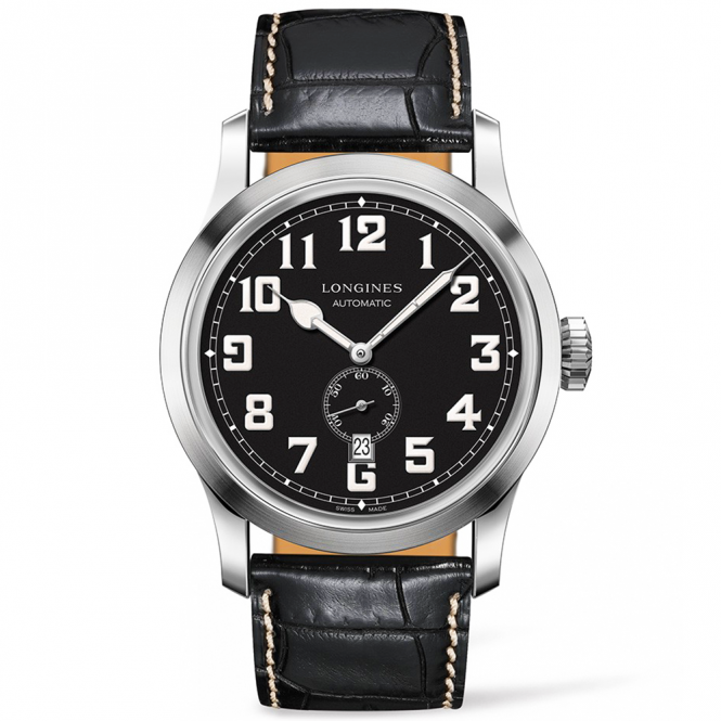 Longines heritage 44mm matte black dial leather strap watch for Longines leather strap