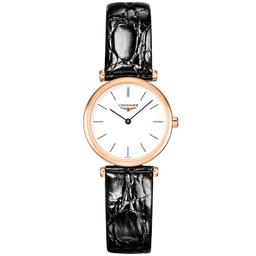 La Grande Classique 24mm Rose Gold PVD & Black Leather Strap Watch