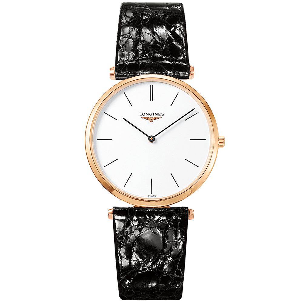 723c5dcb7 La Grande Classique 36mm Rose Gold PVD & Black Leather Strap Watch