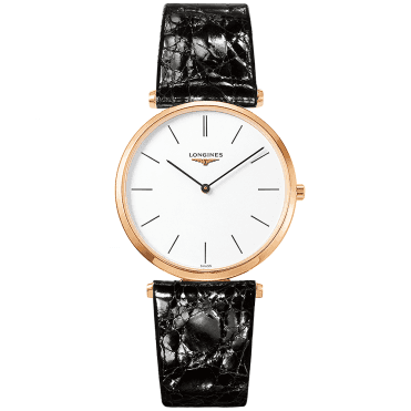 La Grande Classique 36mm Rose Gold PVD & Black Leather Strap Watch