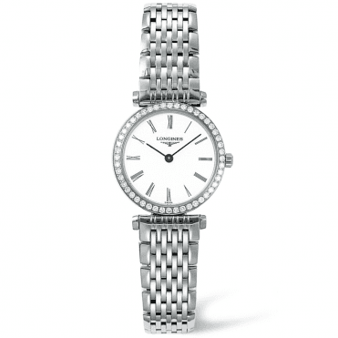 La Grande Classique Diamond Bezel Steel White Roman Dial Ladies Watch