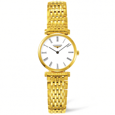 La Grande Classique Gold PVD White Roman Dial Ladies Bracelet Watch