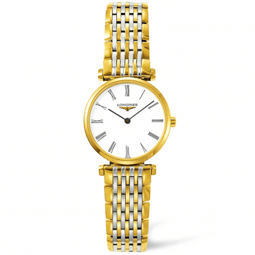 La Grande Classique Steel and Gold PVD White Roman Dial Ladies Bracelet Watch