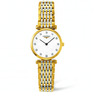 La Grande Classique Steel & Gold PVD Case M.O.P Diamond Dial Ladies Bracelet Watch