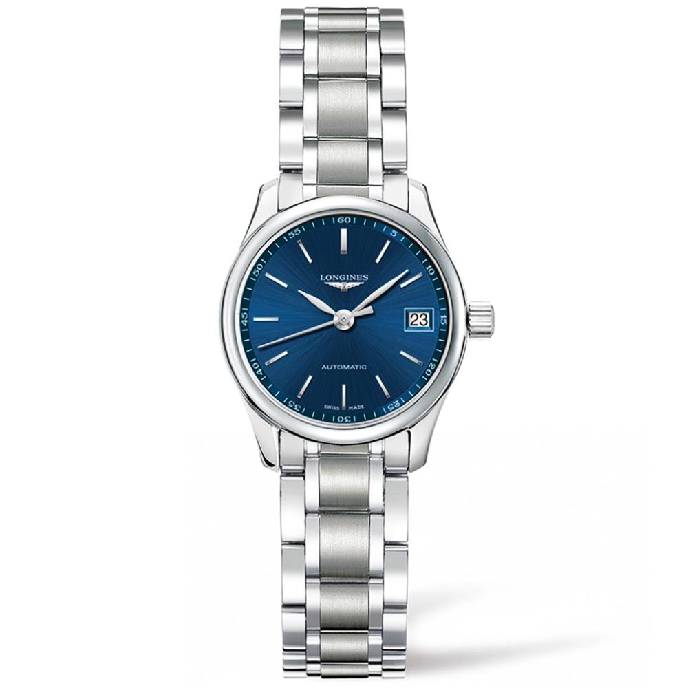 87d4f467c Longines Longines Master 25mm Blue Index Dial Automatic Ladies Bracelet  Watch