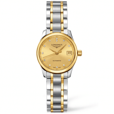 Master 25mm Steel & 18ct Yellow Gold Diamond Dial Ladies Watch