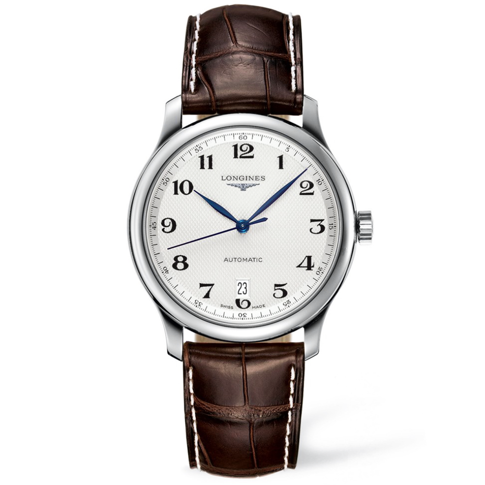 Longines master 38mm silver arabic dial automatic leather strap watch for Watches 38mm