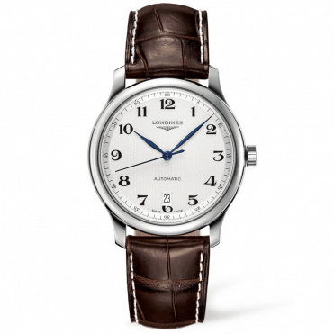 Master 38mm Silver Arabic Dial Automatic Leather Strap Watch