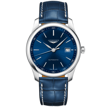 Master 40mm Blue Index Dial Men's Automatic Leather Strap Watch