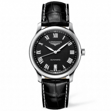Master Automatic Black Roman Dial 39mm Men's Leather Strap Watch