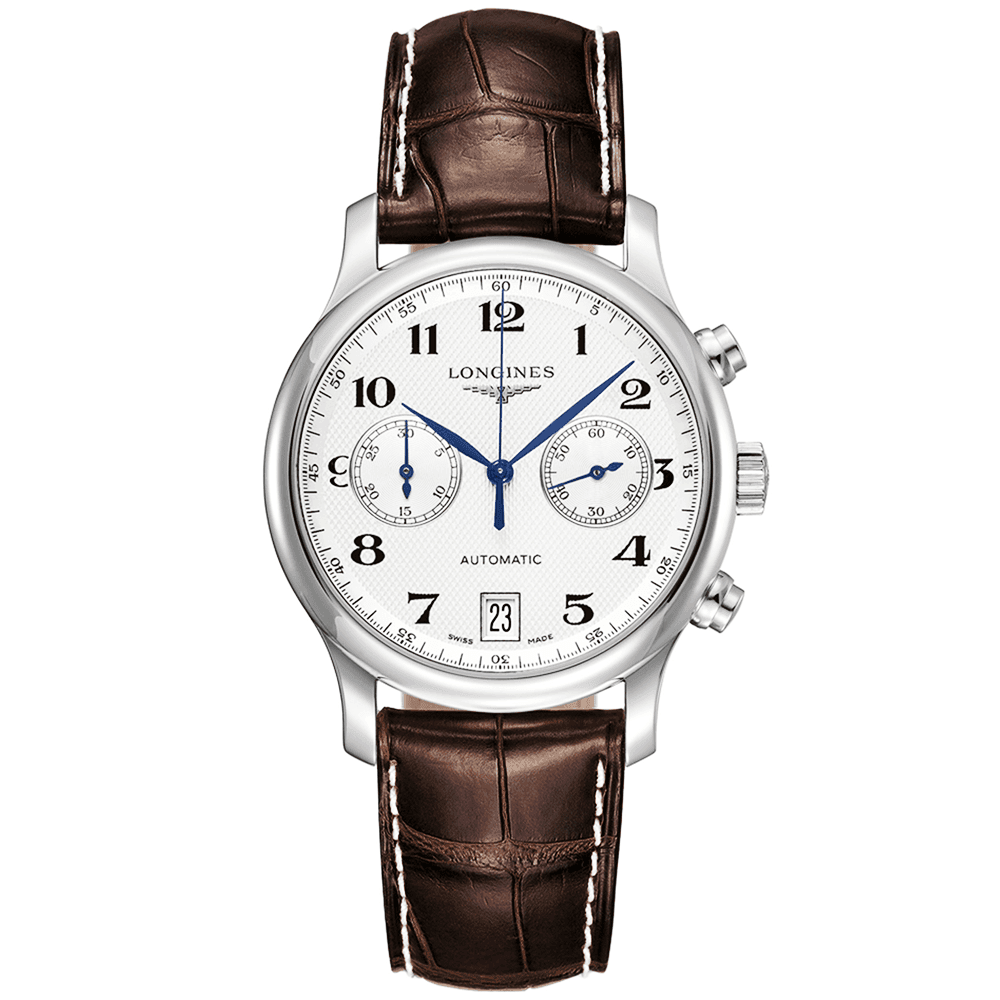 Longines master chronograph silver dial steel men 39 s strap watch for Chronograph master