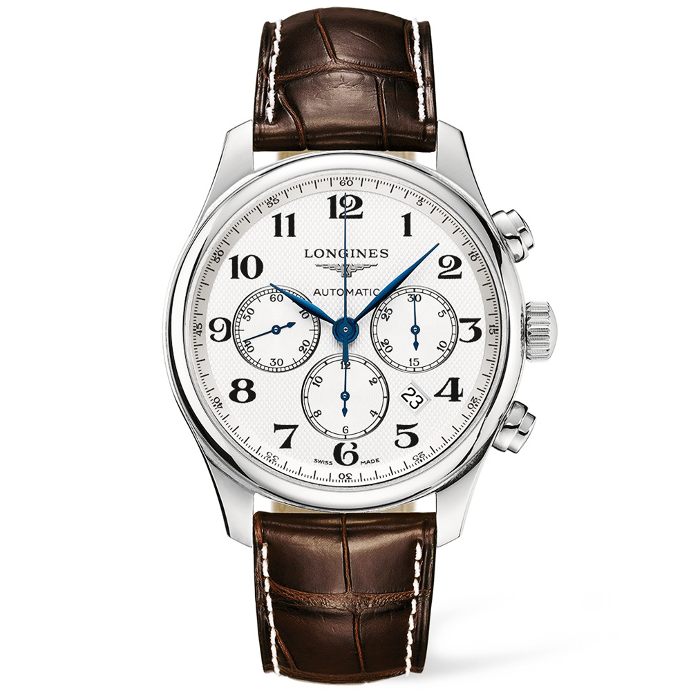 Longines master chronograph 44mm silver arabic dial strap watch for Longines leather strap