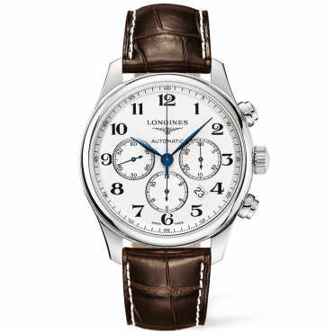 Master Chronograph 44mm Silver Arabic Dial Leather Strap Watch