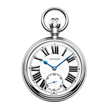 Railroad 49mm Steel & White Lacquered Dial Pocket Watch