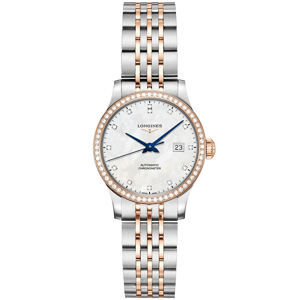 7979be661 Longines Longines Record 26mm Two-Tone White Mother of Pearl Diamond Bezel  Watch