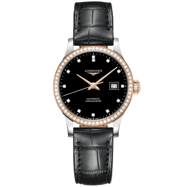 Record 30mm Two-Tone Black Diamond Set Automatic Ladies Watch