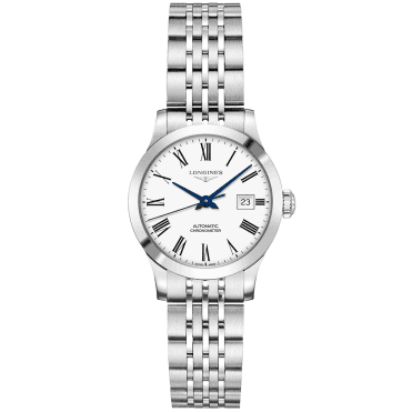 Record 30mm White Roman Dial Ladies Automatic Bracelet Watch