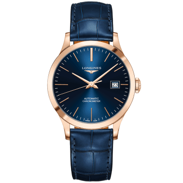 Record 38.5mm 18ct Rose Gold & Blue Index Dial Automatic Strap Watch