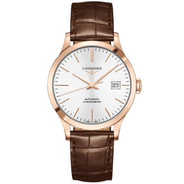 Record 38.5mm 18ct Rose Gold & Silver Index Dial Automatic Strap Watch