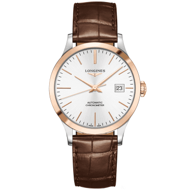 Record 38.5mm Two-Tone Silver Index Dial Automatic Strap Watch