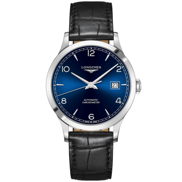 Record 40mm Blue Arabic Dial Automatic & Black Leather Strap Watch