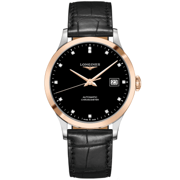 Record 40mm Two-Tone Black Diamond Dial Automatic Men's Watch