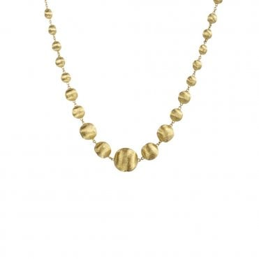 Africa 18ct Yellow Gold Graduated Bead Necklace 43cm